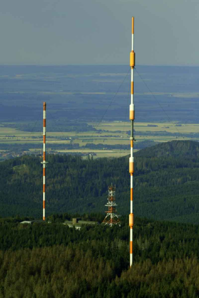 Steel mast funkturm and transmission system as basic network transmitter of NDR Norddeutscher Rundfunk in Torfhaus in the state Lower Saxony, Germany