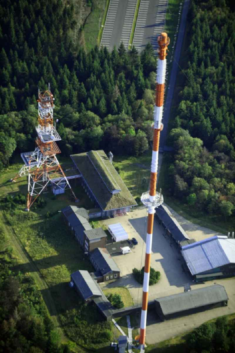Steel mast funkturm and transmission system as basic network transmitter ' Sender Torfhaus ' in Torfhaus in the state Lower Saxony, Germany