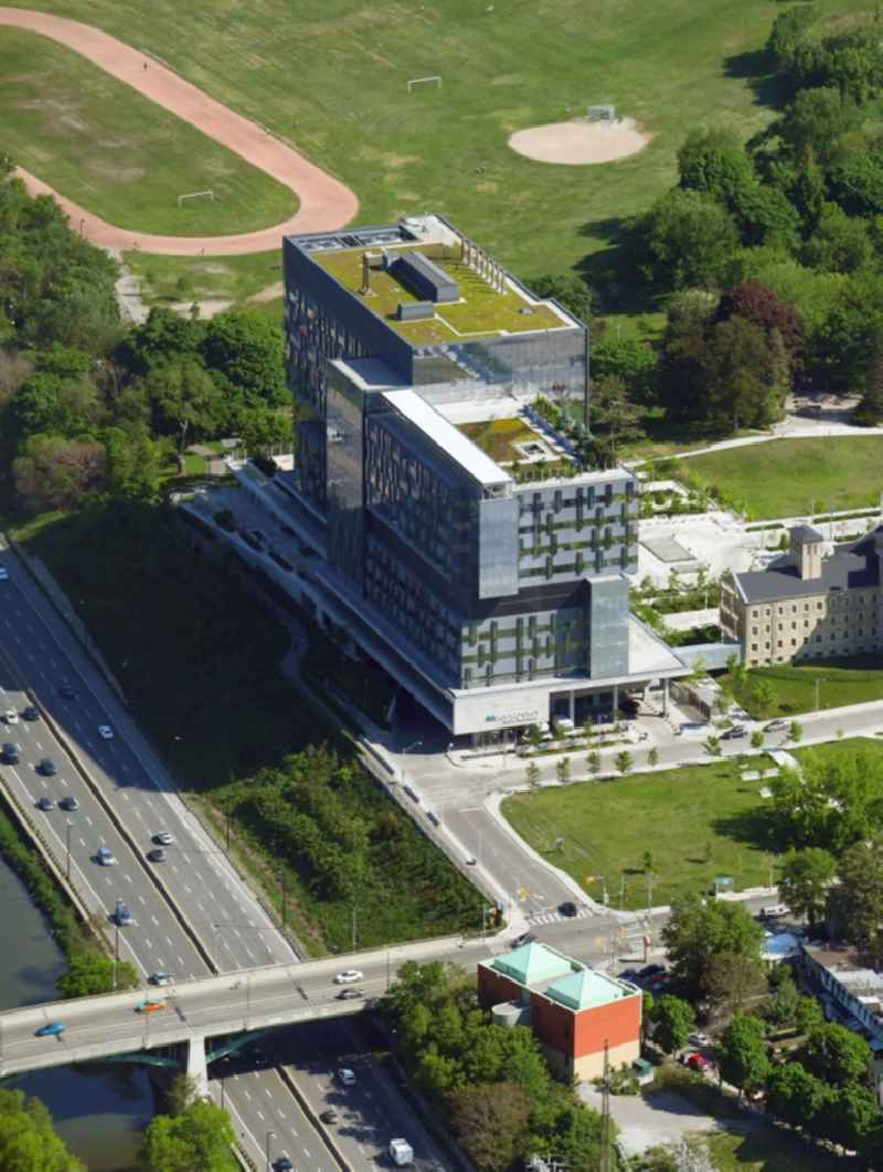 Hospital grounds of the Clinic ' Bridgepoint Hospital ' on Jack Layton Way in Toronto in Ontario, Canada