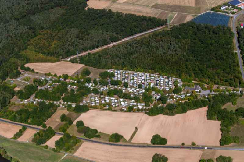 Camping with caravans and tents in the district Lengfurt in Triefenstein in the state Bavaria, Germany. Further information at: Gesellschaft fuer Freizeit und Erholung GmbH und Co. KG.
