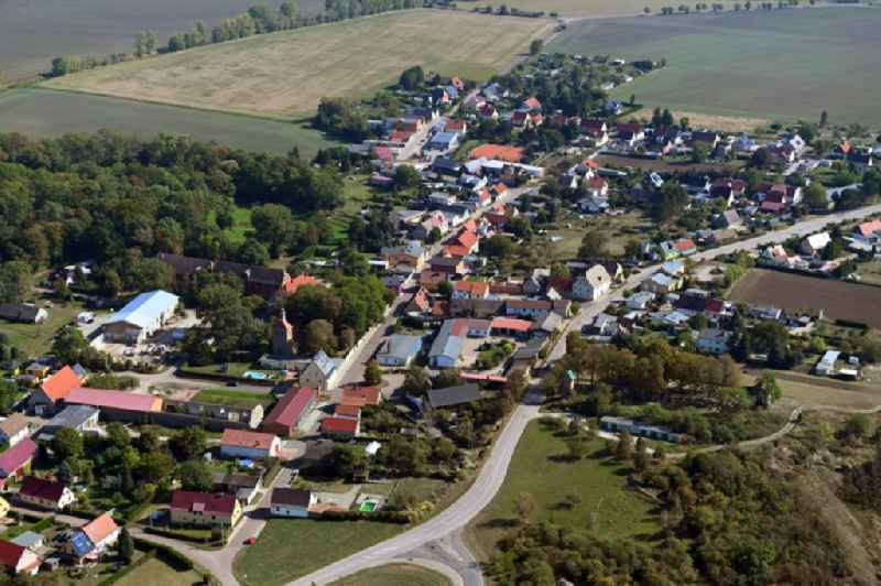 Town View of the streets and houses of the residential areas in Trinum in the state Saxony-Anhalt, Germany