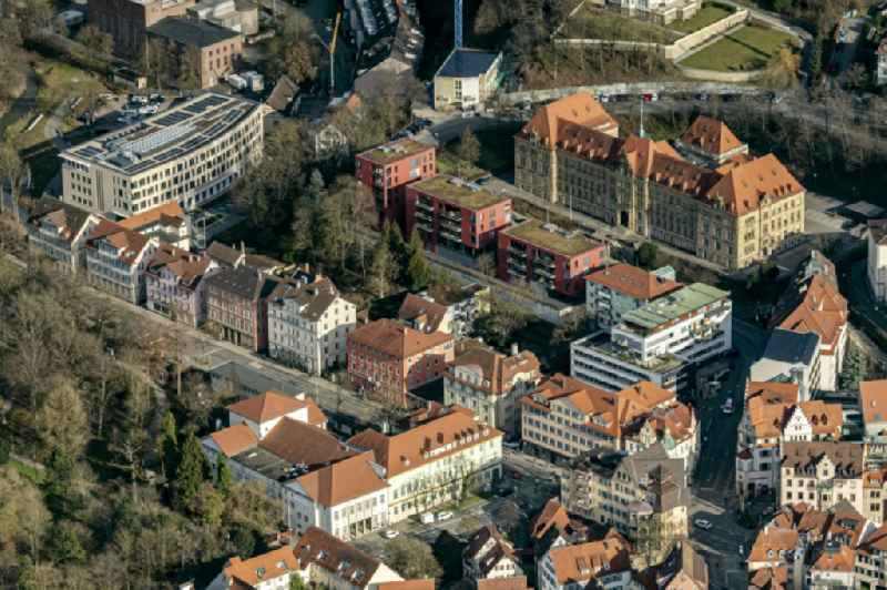Old Town area and city center Wilhelmstrasse u Landgericht Tuebingen in Tuebingen in the state Baden-Wurttemberg, Germany.