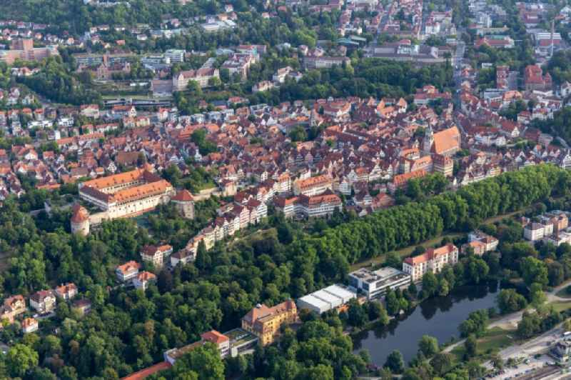 Town View of the streets and houses of the residential areas in Tuebingen in the state Baden-Wuerttemberg, Germany