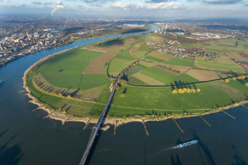 Curved loop of the riparian zones on the course of the river Rhine in Uerdingen in the state North Rhine-Westphalia, Germany