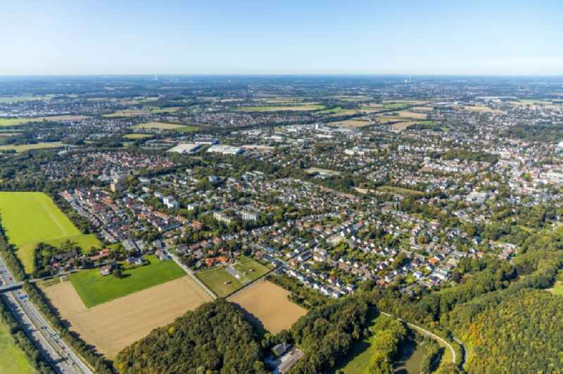 Outskirts residential along the Hertingerstrasse in Unna in the state North Rhine-Westphalia, Germany