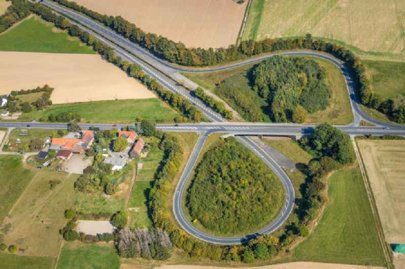Routing and traffic lanes during the exit federal highway B233 to the Isenloher Strasse in Unna in the state North Rhine-Westphalia, Germany