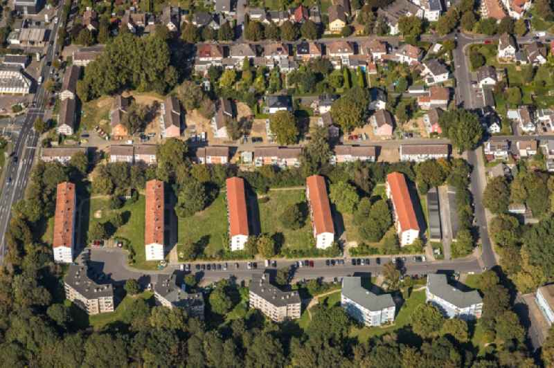 Residential area of a multi-family house settlement on Harkortstrasse - Im Rutental in Unna in the state North Rhine-Westphalia, Germany