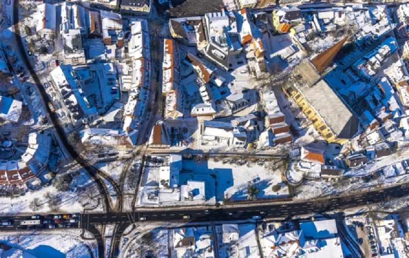 Wintry snowy old Town area and city center on Wasserstrasse in Unna at Ruhrgebiet in the state North Rhine-Westphalia, Germany