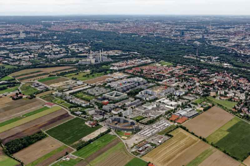 Expansion site on the building complex of the transmitter ' New Campus ' of ProSieben Sat.1 Media SE on Medienallee - Gutenbergstrasse in Unterfoehring in the state Bavaria, Germany