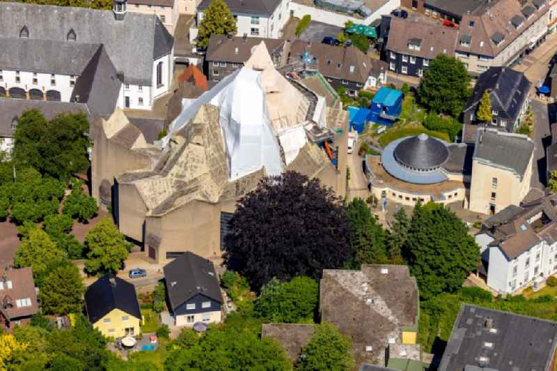 Construction site for renovation and reconstruction work on the church building of the cathedral of ' Mariendom Neviges ' on Loeher Strasse in Velbert in the state North Rhine-Westphalia, Germany