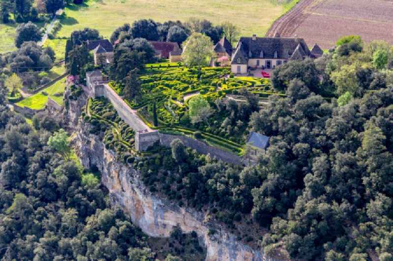 Park and gardenss of the castle Marqueyssac above the Dordogne in Vezac in Nouvelle-Aquitaine, France