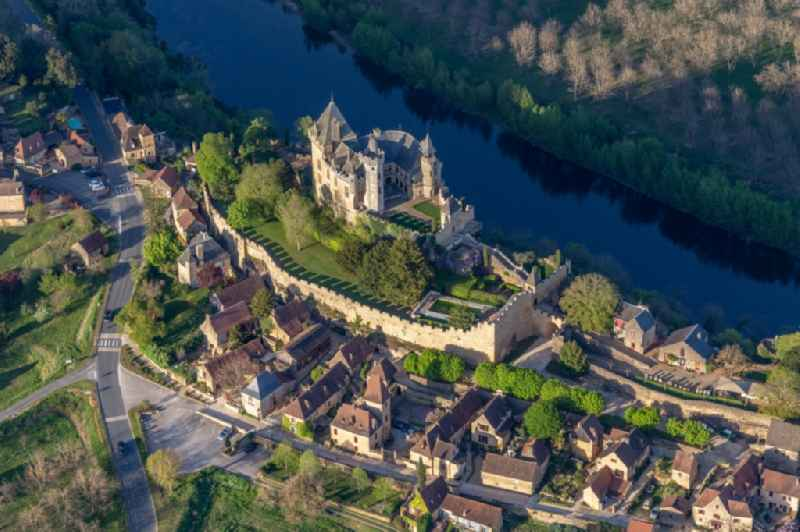 Castle of Montfort above the Dordogne in Vitrac in Nouvelle-Aquitaine, France