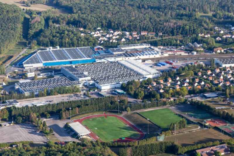 Buildings and production halls on the food manufacturer's premises Nestle Waters Supply Est in Vittel in Grand Est, France