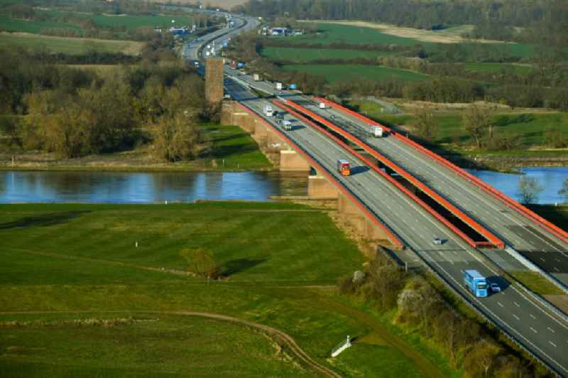 Routing and traffic lanes over the highway bridge in the motorway A 9 - 'Elbebruecke Vockerode' in Vockerode in the state Saxony-Anhalt, Germany
