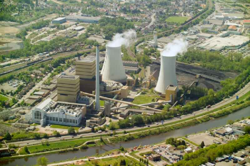 Power plants and exhaust towers of coal thermal power station ' Kraftwerk Fenne ' in Voelklingen in the state Saarland, Germany
