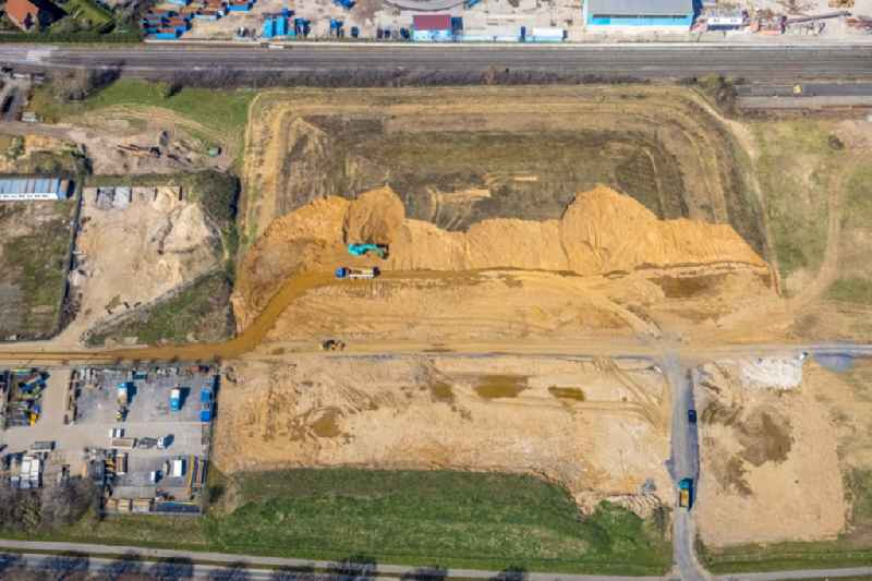 Construction site with development, foundation, earth and landfill works on Boeskenstrasse in the district Emmelsum in Voerde (Niederrhein) in the state North Rhine-Westphalia, Germany