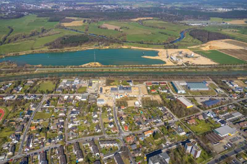 Construction site to build a new office and commercial building ' Volksbank Rhein-Lippe ' in the district Friedrichsfeld in Voerde at Ruhrgebiet in the state North Rhine-Westphalia, Germany