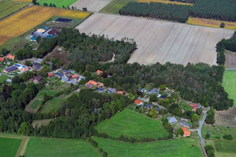 Village - view on the edge of forested areas in Volkfien in the state Lower Saxony, Germany