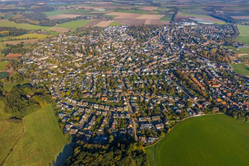 Town View of the streets and houses of the residential areas in Vorst in the state North Rhine-Westphalia, Germany