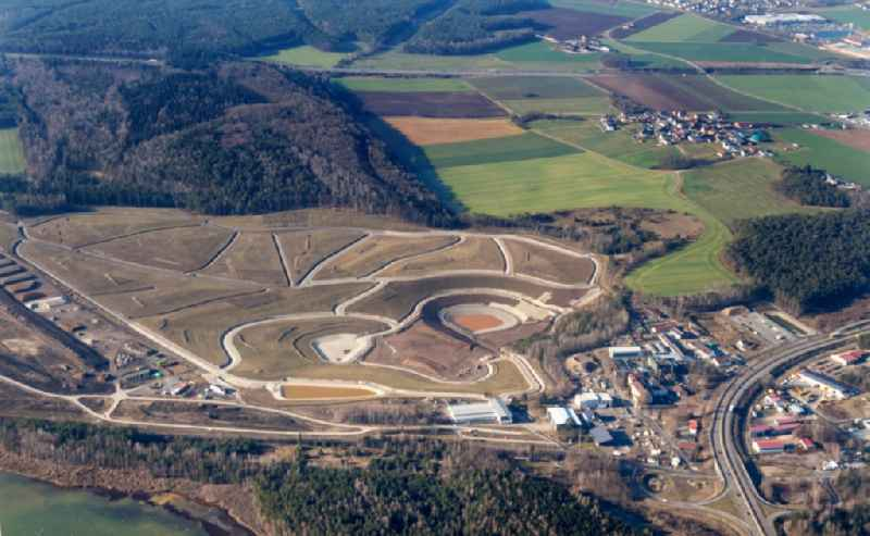 Renovation, sealing and restoration work on the site of the refurbished landfill Deponie Westfeld in Wackersdorf in the state Bavaria, Germany. Further information at: Max Boegl Bauservice GmbH und Co. KG.
