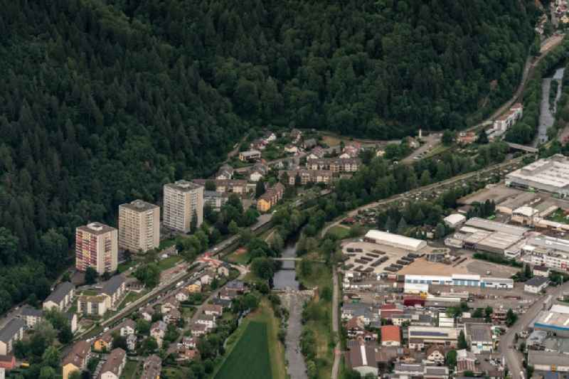 Town on the banks of the river of Elz in Waldkirch in the state Baden-Wuerttemberg, Germany