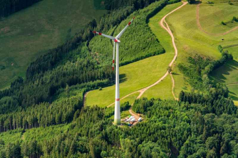 Wind turbine windmills (WEA) in a forest area in Waldkirch in the state Baden-Wuerttemberg, Germany