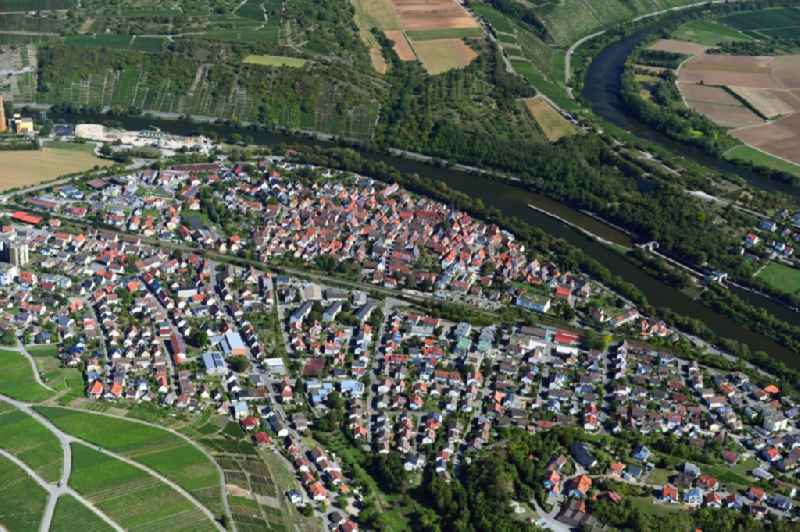 City view on the river bank of Neckar in Walheim in the state Baden-Wuerttemberg, Germany