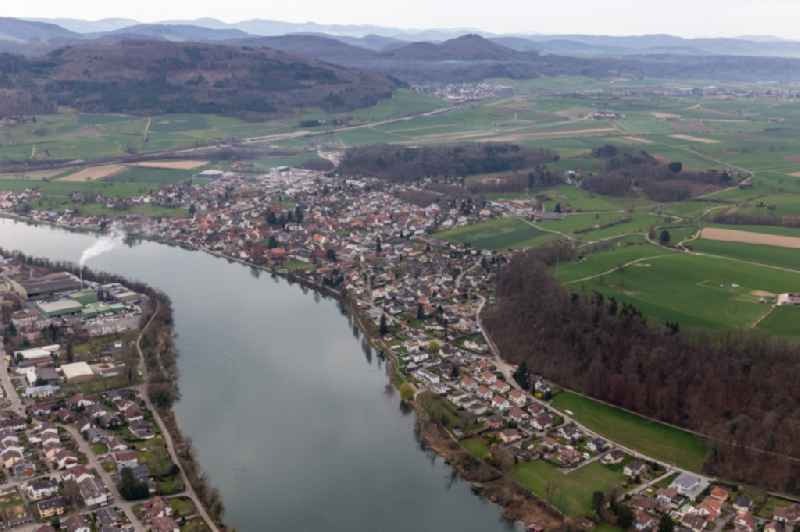 Village on the river bank areas in Wallbach in the canton Aargau, Switzerland