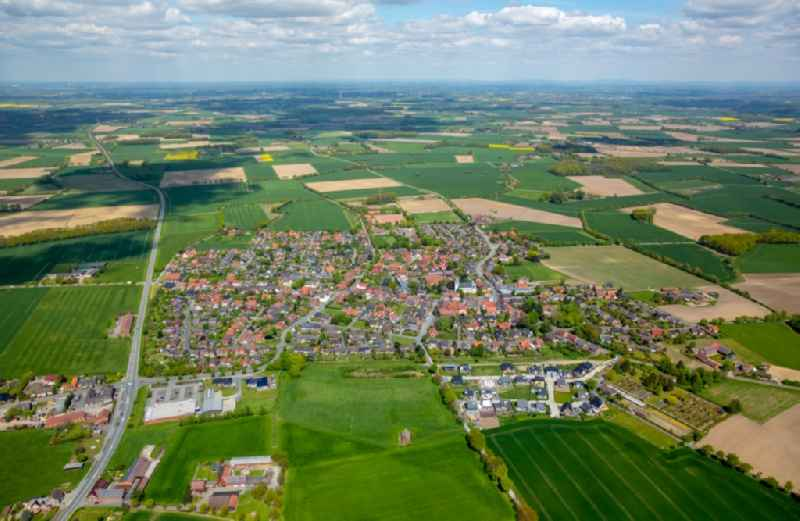 Town View of the streets and houses of the residential areas in Walstedde in the state North Rhine-Westphalia, Germany.