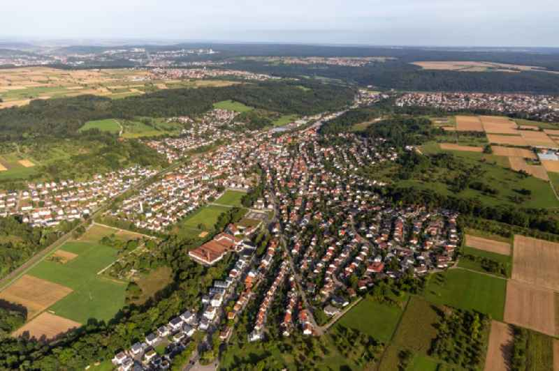 Town View of the streets and houses of the residential areas in Wannweil in the state Baden-Wuerttemberg, Germany