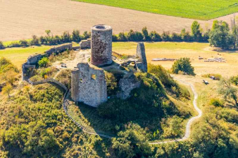 Ruins and vestiges of the former castle and fortress Burgruine Desenberg in Warburg in the state North Rhine-Westphalia, Germany