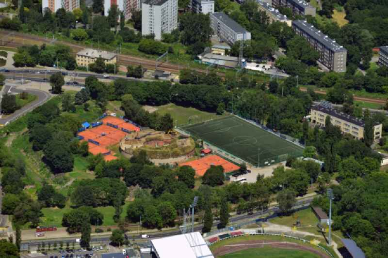 Tennis courts and football grounds in Szkolny Park in the district of Srodmiescie in Warsaw in Poland. The park is mainly used for sports activities and is home to several fields and pitches. It is located on the riverbank of the Wisla in the North of the district.