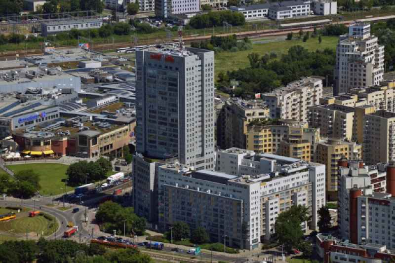 Residential area and buildings next to Arkadia Shopping Mall in downtown Warsaw in Poland. The high rise buildings are located south of the mall. The most western tower is Babka Tower, an appartment building. The buildings are adjacent to the traffic junction Rondo Radoslawa.