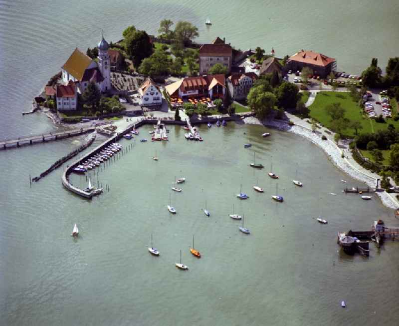 Pleasure boat marina with docks and moorings on the shore area of Lake of Constance in Wasserburg (Bodensee) in the state Bavaria, Germany
