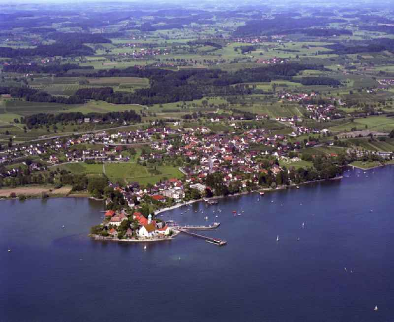 Town View of the streets and houses of the residential areas in Wasserburg (Bodensee) in the state Bavaria, Germany