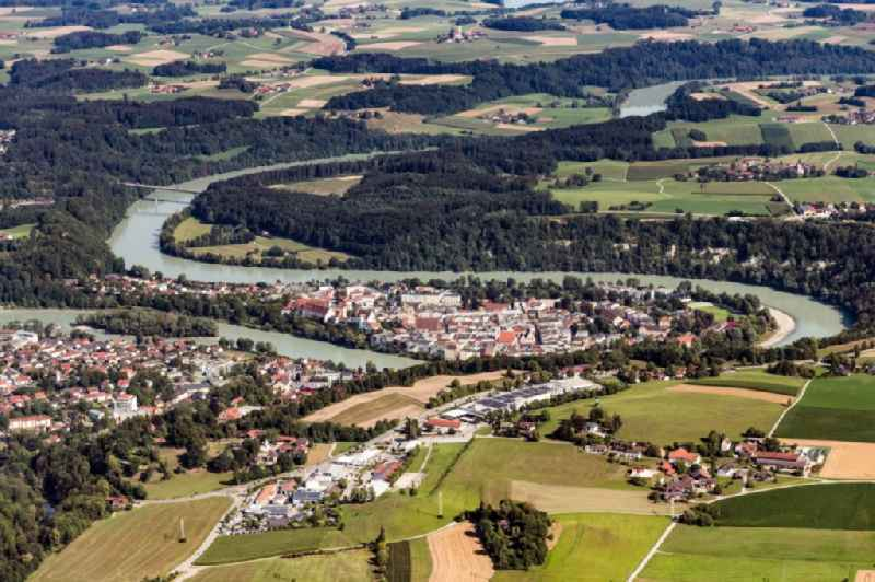 City area with outside districts and inner city area in Wasserburg am Inn in the state Bavaria, Germany