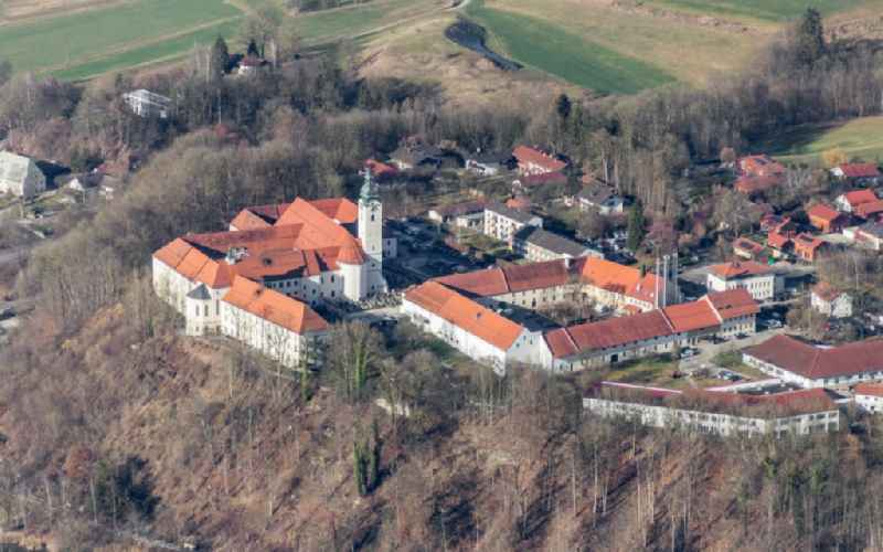Building complex of the former monastery and today Pfarramt St. Michael Attel in Wasserburg am Inn in the state Bavaria, Germany
