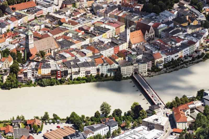 River - bridge construction Wasserburger Innbruecke and Altstadt auf of Halbinsel in Wasserburg am Inn in the state Bavaria, Germany