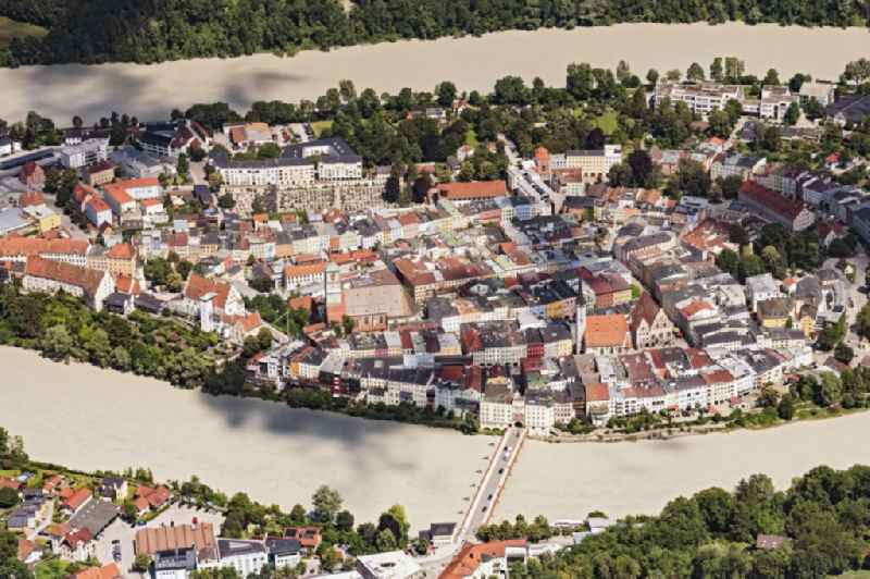 City center in the downtown area on the banks of river course of Inn in Wasserburg am Inn in the state Bavaria, Germany