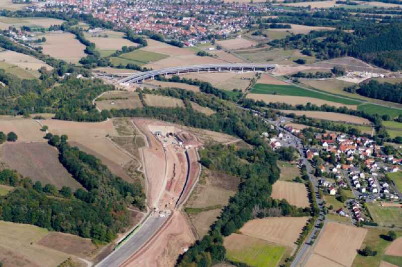 New construction of the route in the course of the motorway tunnel construction of the BAB A 44 in Wehretal in the state Hesse, Germany.