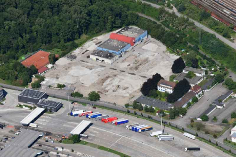 Demolition and dismantling of buildings on the former factory grounds of foil manufacturer Lofo at the motorway border control Germany / Switzerland in Weil am Rhein in the state Baden-Wurttemberg, Germany
