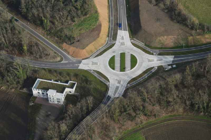 Traffic management of the roundabout road on Nordwestumfahrung, Haltinger-, Hedelinger- and Alte Basler Strasse in the district Haltingen in Weil am Rhein in the state Baden-Wurttemberg, Germany