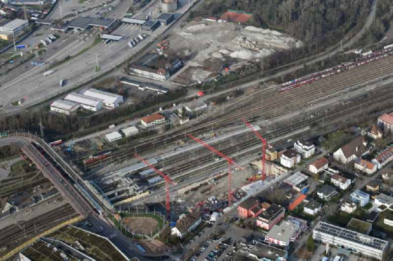 New construction of the building complex of the shopping center Dreilaendergalerie at the Peace Bridge and the railway station in Weil am Rhein in the state Baden-Wurttemberg, Germany