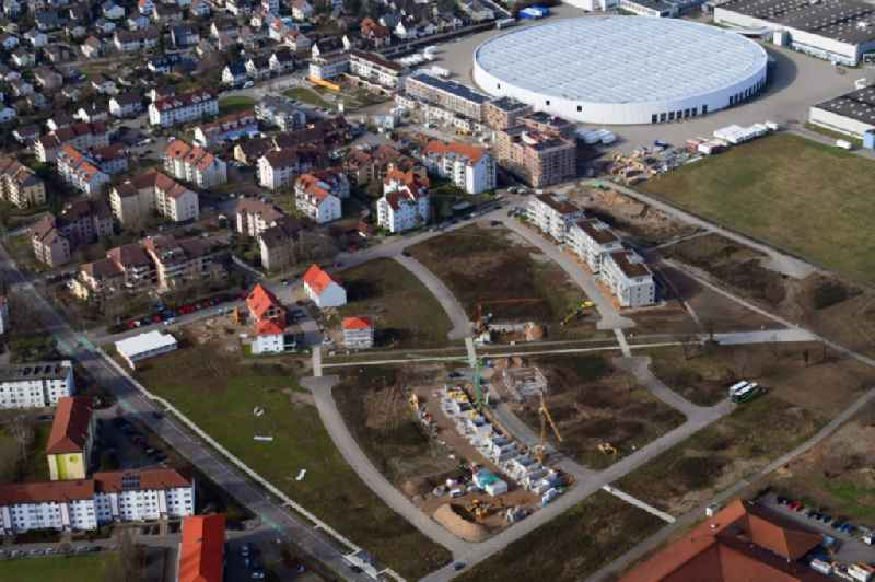Construction site to build a new multi-family residential complex Hohe Strasse at the Vitra Campus in Weil am Rhein in the state Baden-Wurttemberg, Germany