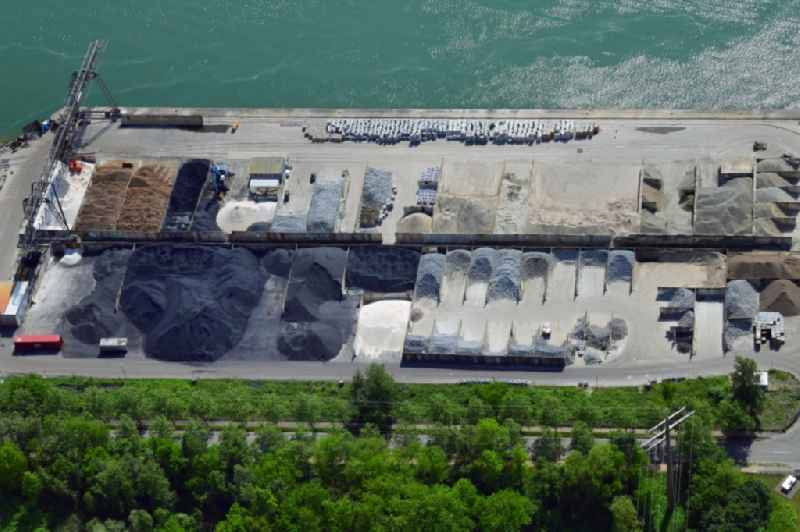Loading zone for sand and bulk material in the harbour at the river Rhine in Weil am Rhein in the state Baden-Wurttemberg, Germany