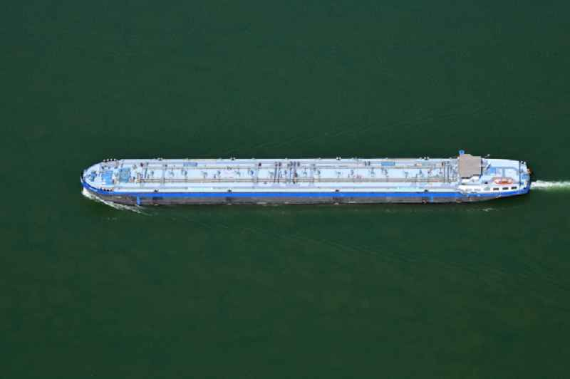 Tanker ship on the waterway of the river Rhine in Weil am Rhein in the state Baden-Wuerttemberg, Germany