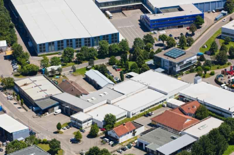 Building and production halls on the premises of Venta Luftwaescher - formerly Ventax on Weltestrasse in Weingarten in the state Baden-Wuerttemberg, Germany