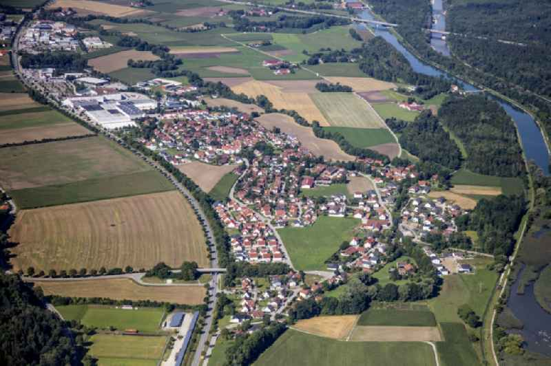 Local view with streets and houses on the bank area of a??a??the Mittlere-Isar Canal and the Isar river course in Weixerau in the state Bavaria, Germany