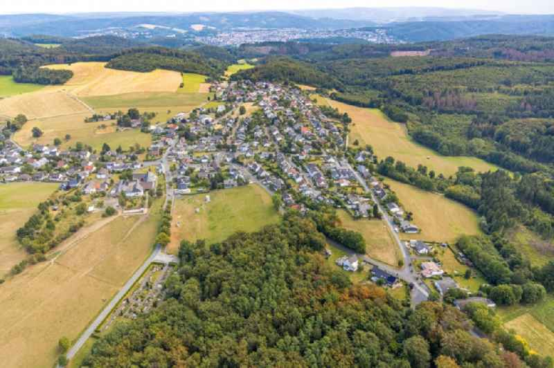 Village view on the edge of agricultural fields and land in Wennigloh in the state North Rhine-Westphalia, Germany