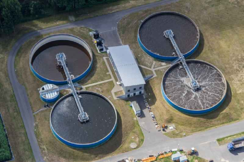 Sewage works Basin and purification steps for waste water treatment in Werder (Havel) in the state Brandenburg, Germany